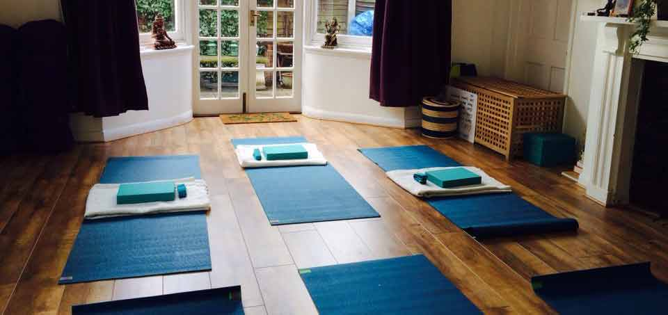 Yoga room with mats laid out