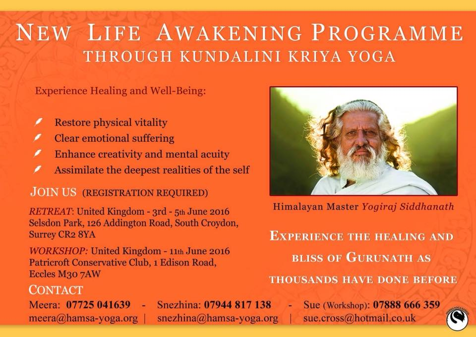 Flyer for New Life Awakening Programme with Yogiraj Gurunath Siddhanath