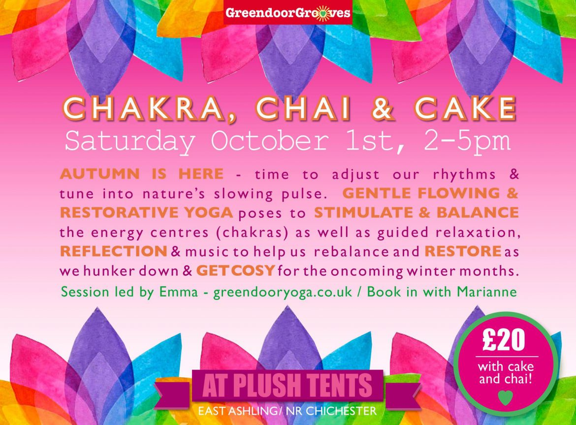 Flyer for Chakra, Chai and Cake Event