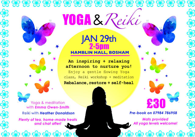 Flyer for the Yoga and Reiki event