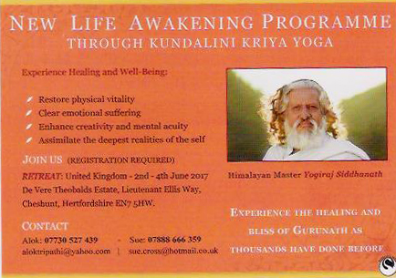 Flyer for 2017 New Life Awakening Programme with Yogiraj Gurunath Siddhanath