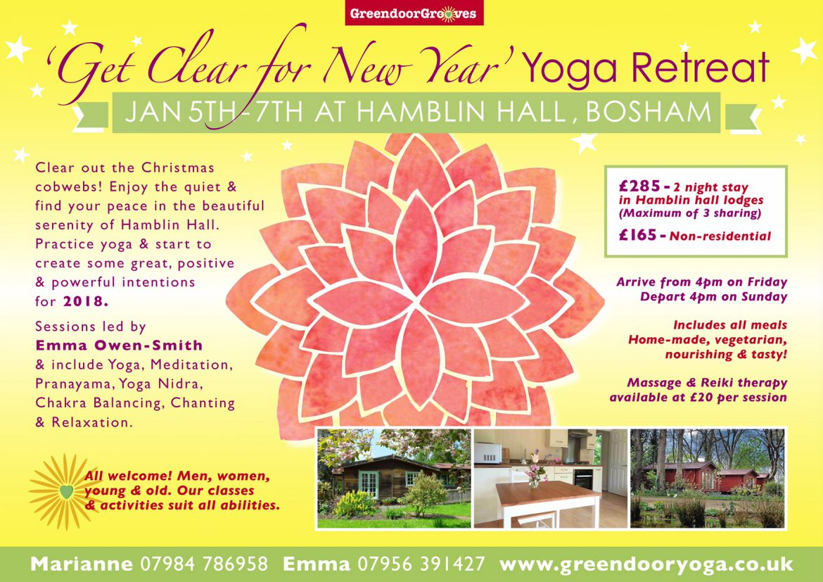 Flyer for the New Year Yoga Retreat 2018