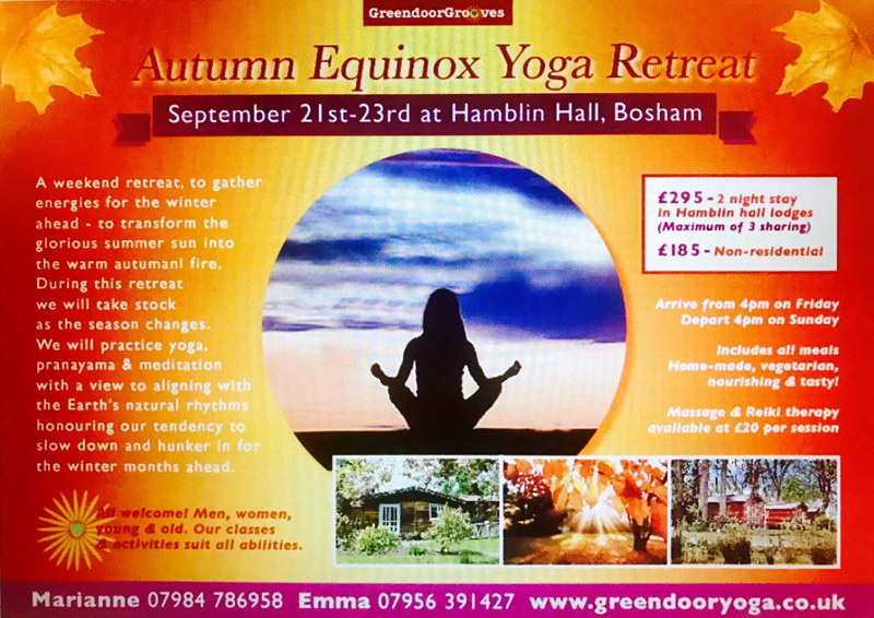 Flyer for Autumn Equinox Yoga Retreat